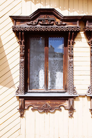 ing: facade of the old Russian log houses in Suzdal, Russia, Golden ?ing