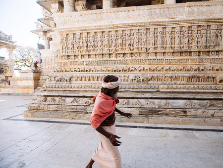 sadhu: UDAIPUR, INDIA - JANUARY 12: Unidentified people near Jagdish temple on January 12, 2017 in Udaipur, India. Jagdish temple is a major monument and big tourist attraction in Udaipur.