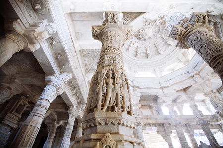 jainism: Interior of Ranakpur Jain  Temple in Rajasthan, India Editorial