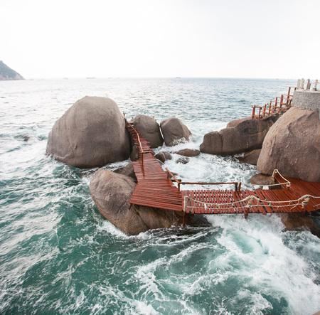 The way between rocks stones in the sea