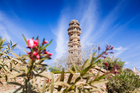 Tower of Victory (Vijay Stambha) in Chittor fort (15th AD). Chittorgarh, India