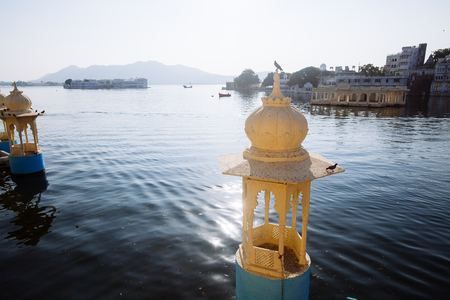 The majestic lake Pichola on sunset, travel destination in Rajasthan, Udaipur  city, India
