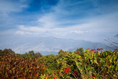 phewa: Famous tourist view of Phewa lake and Annapurna mountain range from World Peace Pagoda in Pokhara, Nepal