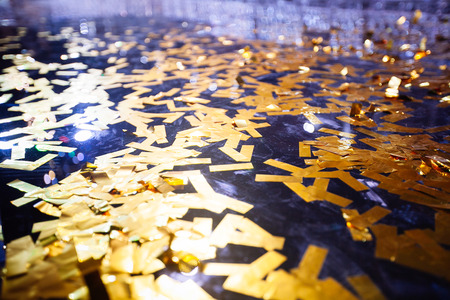 sequins: Golden confetti With Sparkling Glitter - Christmas Holidays and party background