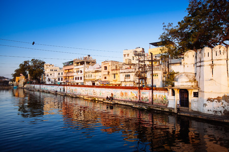 Indian architecture in Udaipur Rajasthan. Panoramic view of Pichola lake, India