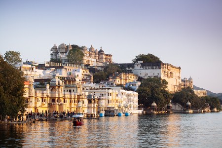 Indian architecture in Udaipur Rajasthan. Panoramic view of Pichola lake, India Stock Photo - 77283199
