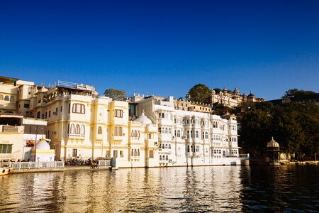 Indian architecture in Udaipur Rajasthan. Panoramic view of Pichola lake