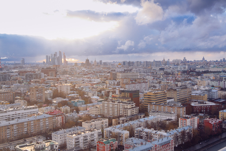 Aerial Moscow city panorama. Russian capital downtown. Moscow, Russia