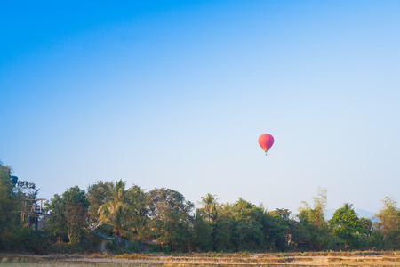 colorful cloudscape: Hot air balloon on sky in Laos, Vang Vieng