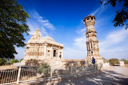 Fort Chittorgarh  in Chittor India. Rajasthan. Kirti Stambha Stock Photo