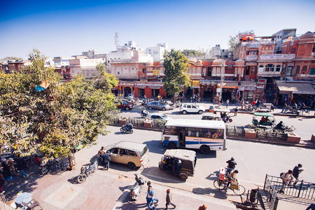 JAIPUR, INDIA - JAN 17: Top yiew of busy street from Hawa Mahal or Place of winds or breeze January 17, 2017 Rajasthan, India Sajtókép