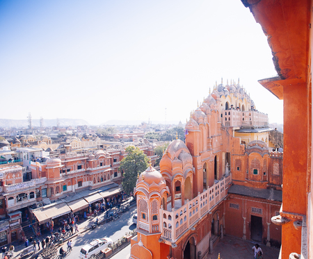 JAIPUR, INDIA - JAN 17: Top yiew of busy street from Hawa Mahal or Place of winds or breeze January 17, 2017 Rajasthan, India