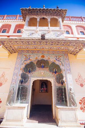 Peacock Gate in Pitam Niwas Chowk, Jaipur City Palace, Rajasthan, India.