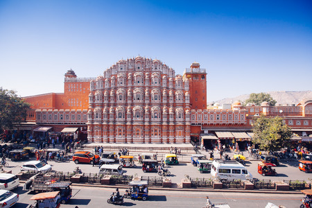 JAIPUR, INDIA - JAN 17: Hawa Mahal or Place of winds or breeze January 17, 2017 Rajasthan, India