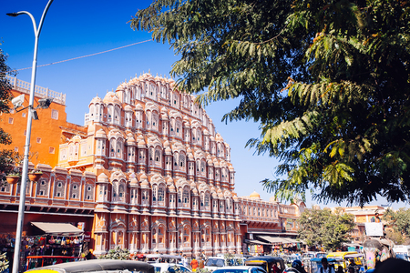 JAIPUR, INDIA - JAN 17: Hawa Mahal or Place of winds or breeze January 17, 2017 Rajasthan, India