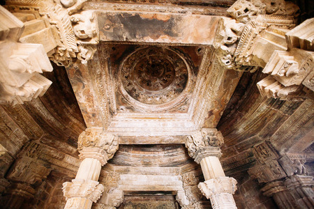 Interior of Hindu and Jain temples in Khajuraho city. Madhya Pradesh, India.
