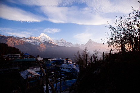 Sunrise in Tadapani village. Annapurna area mountains in the Himalayas of Nepal Editorial