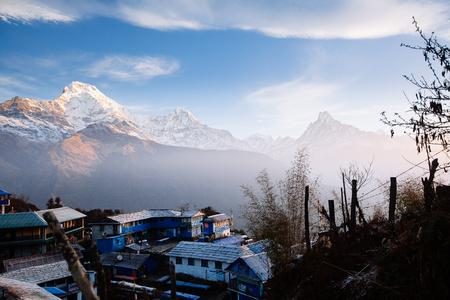 Sunrise in Tadapani village. Annapurna area mountains in the Himalayas of Nepal Editorial