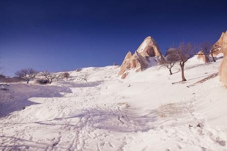 Breathtaking view of Valley in winter season, Cappadocia national park, Turkey Stock Photo