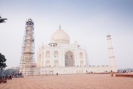 View of the Taj Mahal at sunrise, Agra, Uttar Pradesh, India Redakční