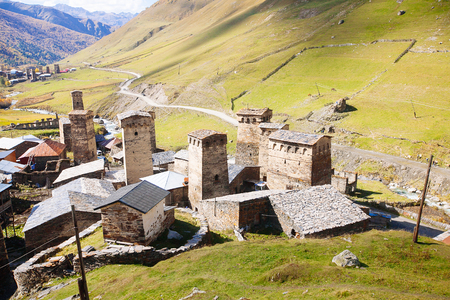 Ushguli village with typical old towers, Svaneti region, Georgia Stock fotó