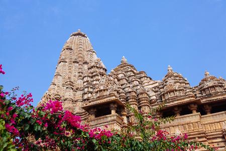 Kandariya Mahadeva temple in Khajuraho, India. It is the largest and most ornate Hindu temple in the medieval temple group found at Khajuraho.