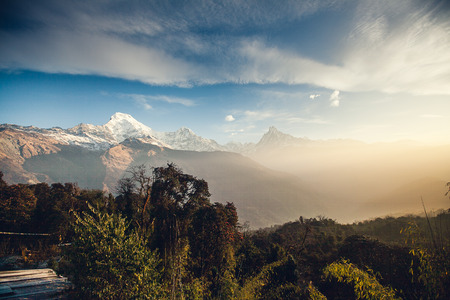 Sunrise in Annapurna area mountains in the Himalayas of Nepal