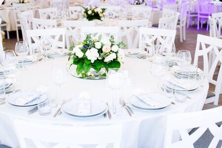 Wedding banquet. Table set for wedding reception Reklamní fotografie