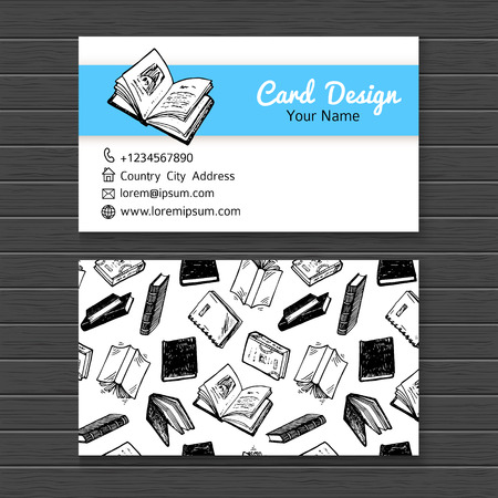 reads: Business card template with hand drawn books set.