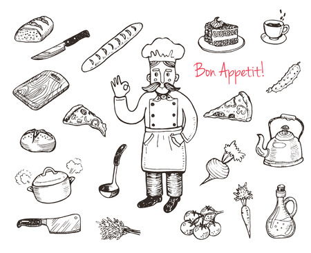 Hand drawn doodle cooking set.  Kitchen utensils and food. Vector