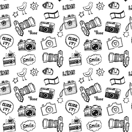 Hand drawn illustration set of photography sign and symbol doodles elements.