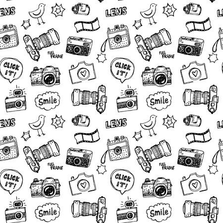 analog camera: Hand drawn illustration set of photography sign and symbol doodles elements.