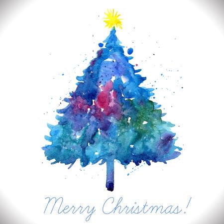 手でメリー クリスマスのグリーティング カードには、ブルーの水彩ツリーが描かれています。