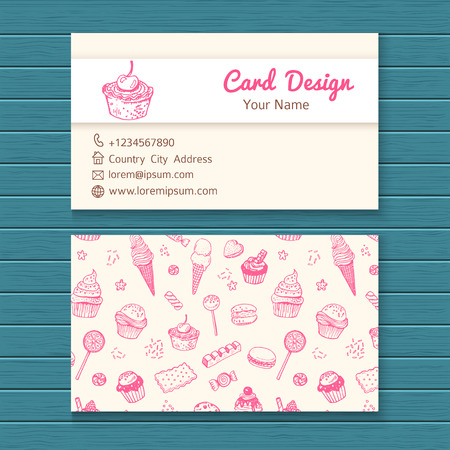 cup cake: Business card template with hand drawn sweets set.