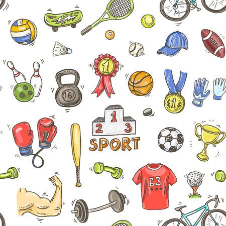 Hand drawn doodle sport seamless pattern. Illustration