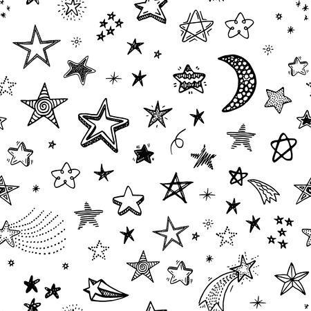 dibujo: Dibujado a mano sin patrón con estrellas del doodle Vectores