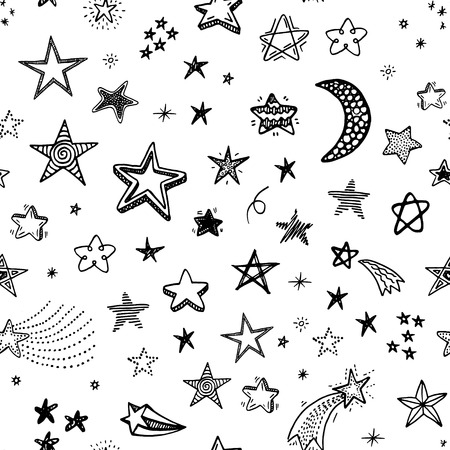 hand pen: Hand drawn seamless pattern with doodle stars
