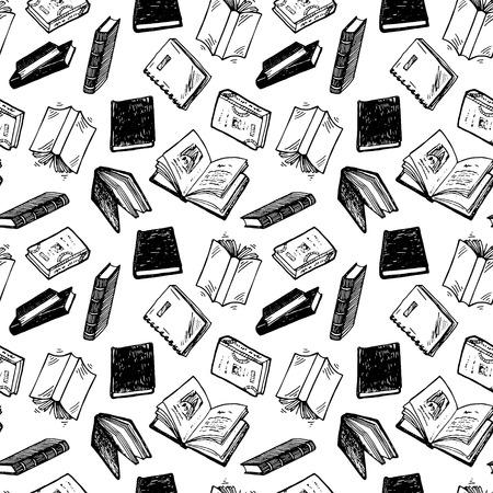 conocimiento: Patrón sin fisuras con los libros dibujados a mano.