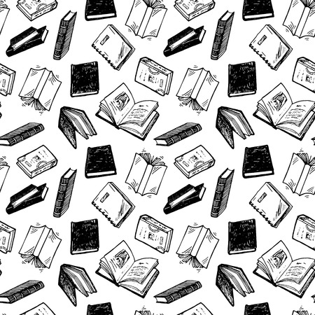 Seamless pattern with hand drawn books.
