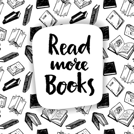 rad: Rad more books, hand drawn calligraphic card.