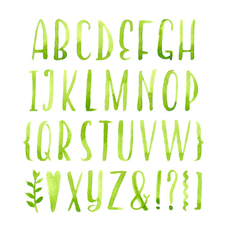 Hand drawn calligraphic green watercolor font.