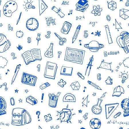 Hand getekend naadloos patroon met school bord en symbool doodles elementen.