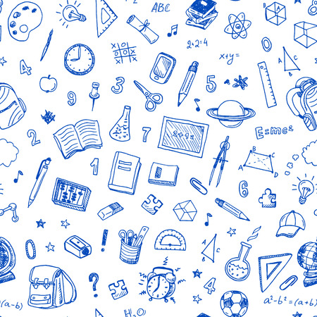 backpack: Hand drawn seamless pattern with school sign and symbol doodles elements. Illustration