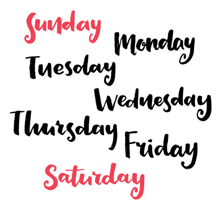 days of the week: Calligraphy Days of the week Illustration