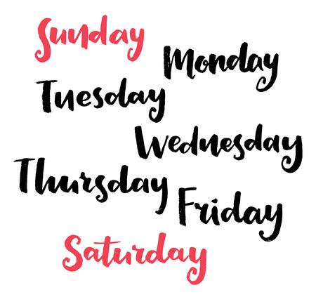 Calligraphie Jours de la semaine