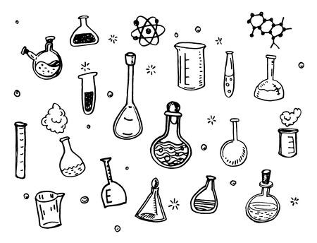 Hand Getrokken Chemistry kolven doodles set Stockfoto - 41455932
