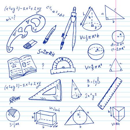 geometri: Elle çizilmiş geometri doodle set.