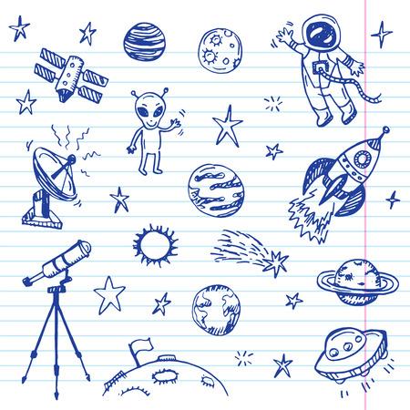 Mano espacio dibujado conjunto del doodle