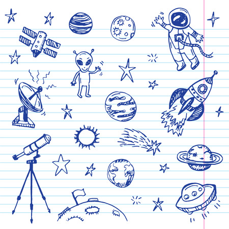 astronaut: Mano espacio dibujado conjunto del doodle Vectores