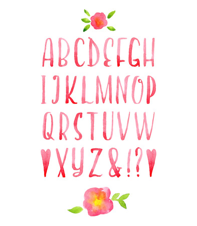Hand drawn watercolor pink calligraphic font. Illustration